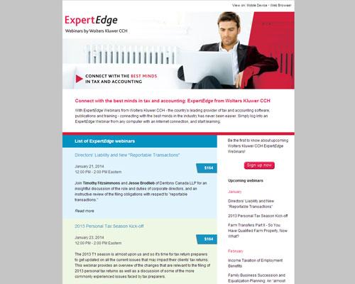 ExpertEdge webinars Webpage